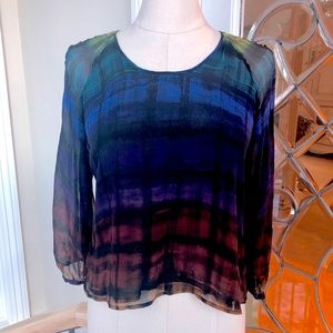 Cluny Cut-Out Shoulder Silk Multi-Colored Blouse